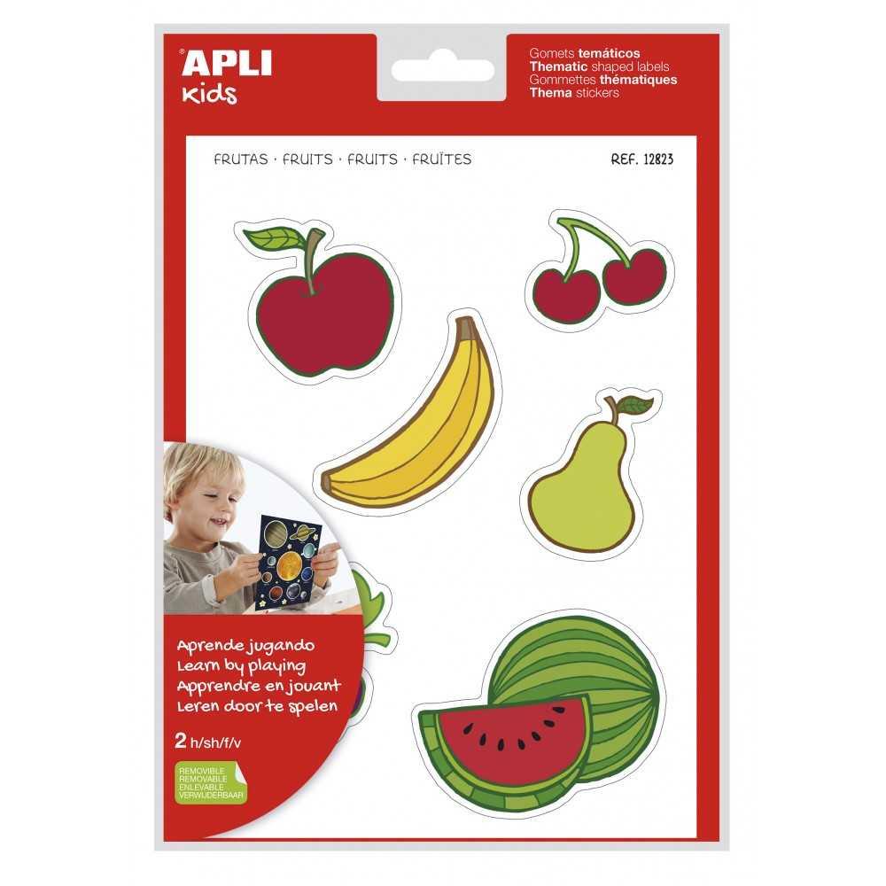 2 Hojas Maxi Gomets Temáticos Frutas Apli 12823