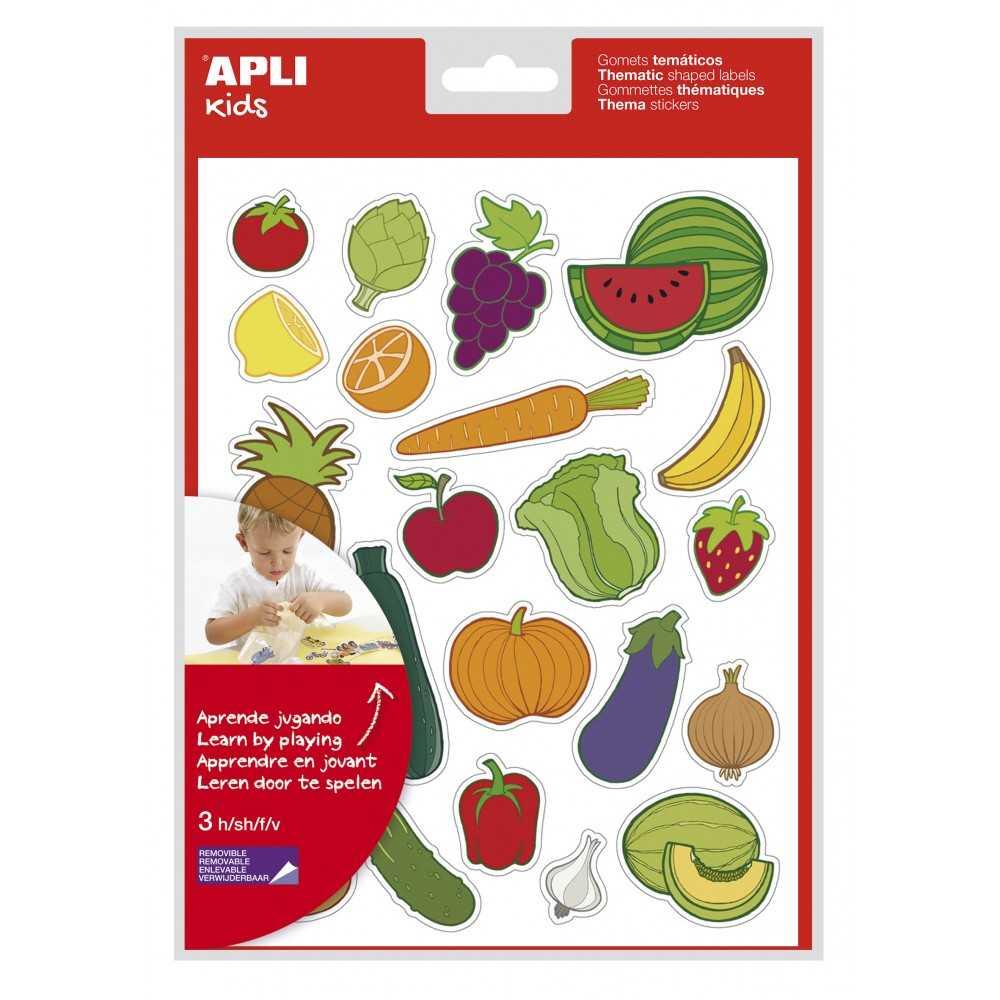 Blister 3h Gomets Temáticos Frutas y Verduras Apli 11439 compraetiquetas.com