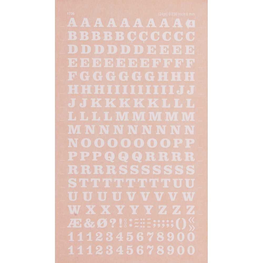 Letras y Números Transferibles Blancos 6 mm Apli DDB4F