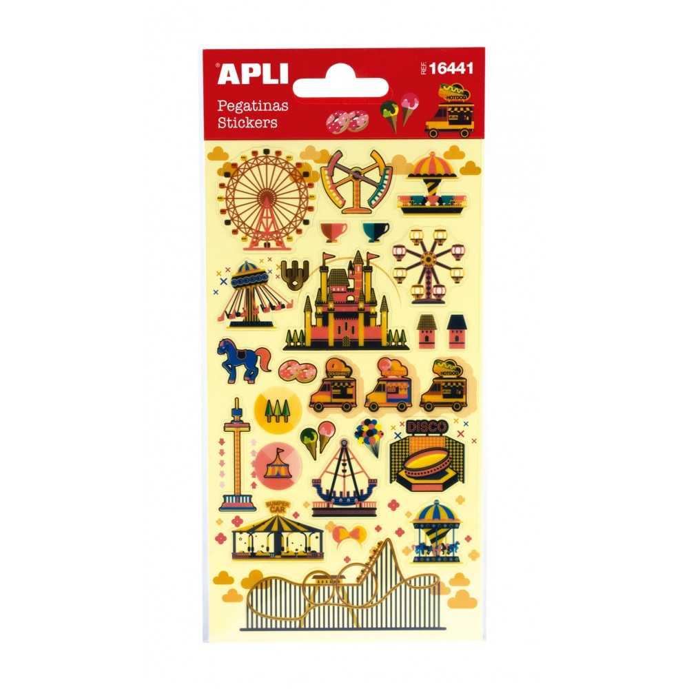 1 Hoja Pegatinas Stickers Motivo Parque De Atracciones Apli 16441