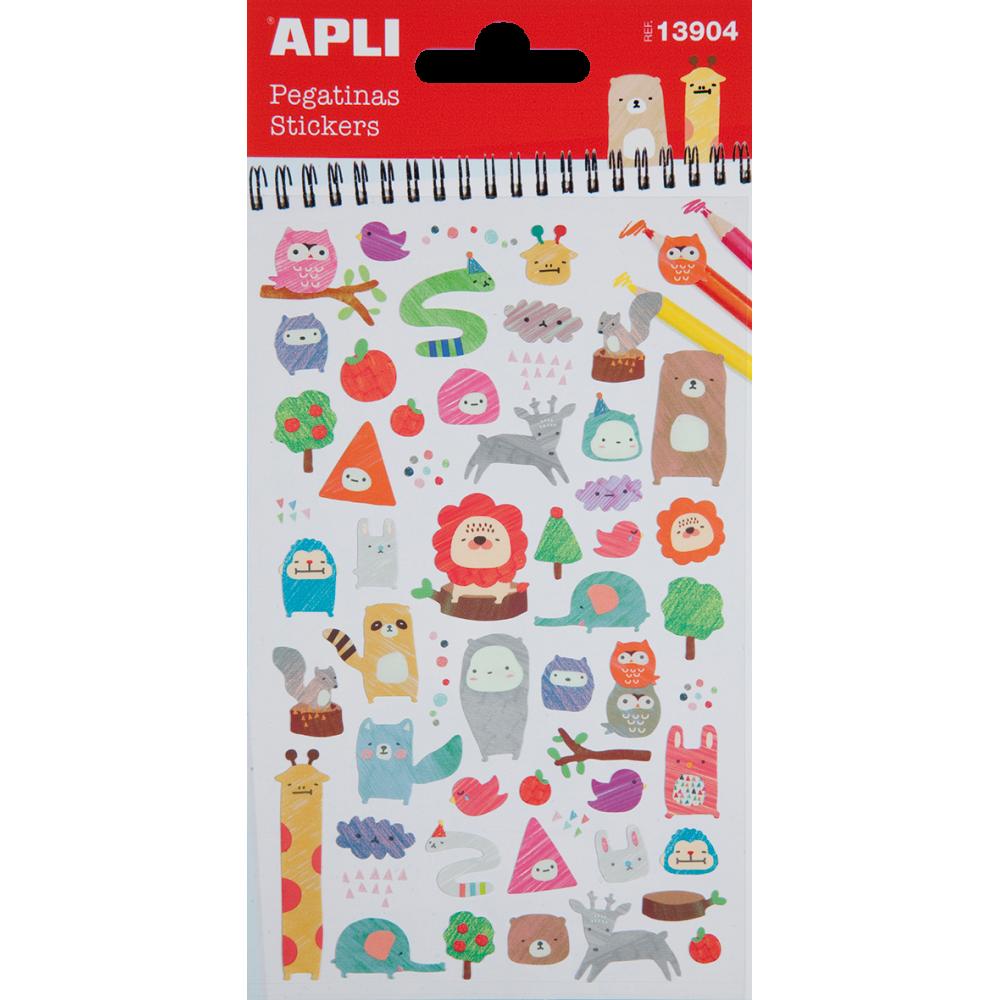 1 Hoja Pegatinas Stickers Motivo Animales Coloreados Apli 13904