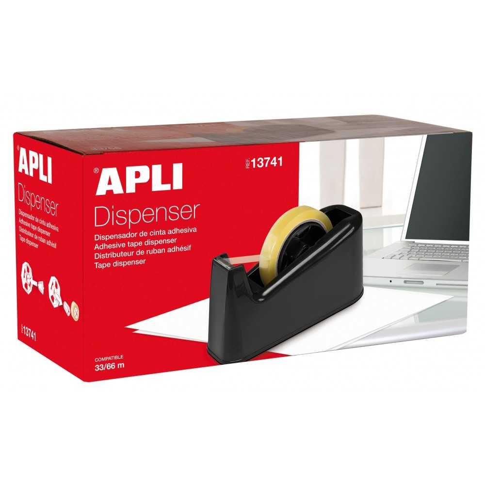 Portarrollos de Cinta Adhesiva Negro 33/66mm Apli 13741