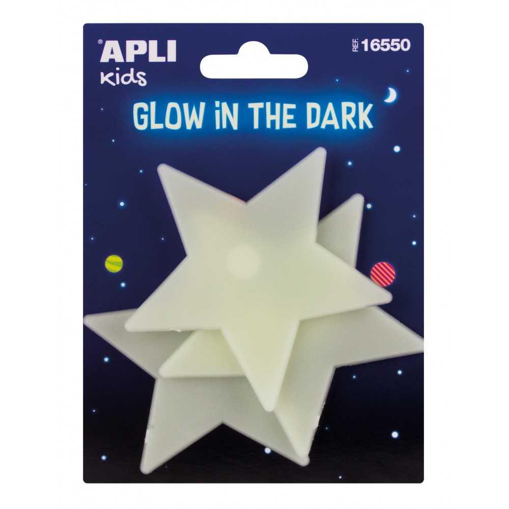 3 Estrellas Grandes de Plástico Solido Luminiscentes Apli 16550 compraetiquetas.com
