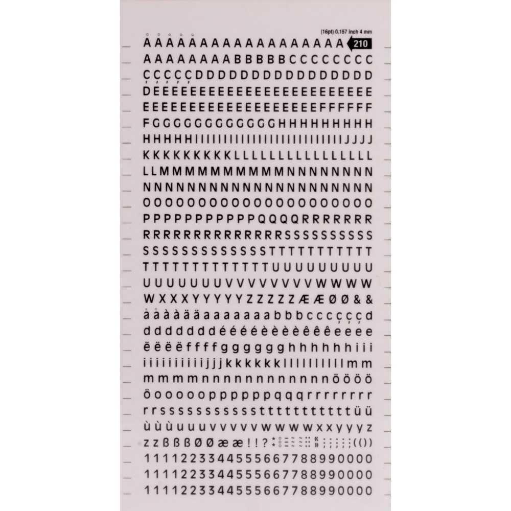 Letras y Números Transferibles Color Negro 4 mm Apli SDD210F