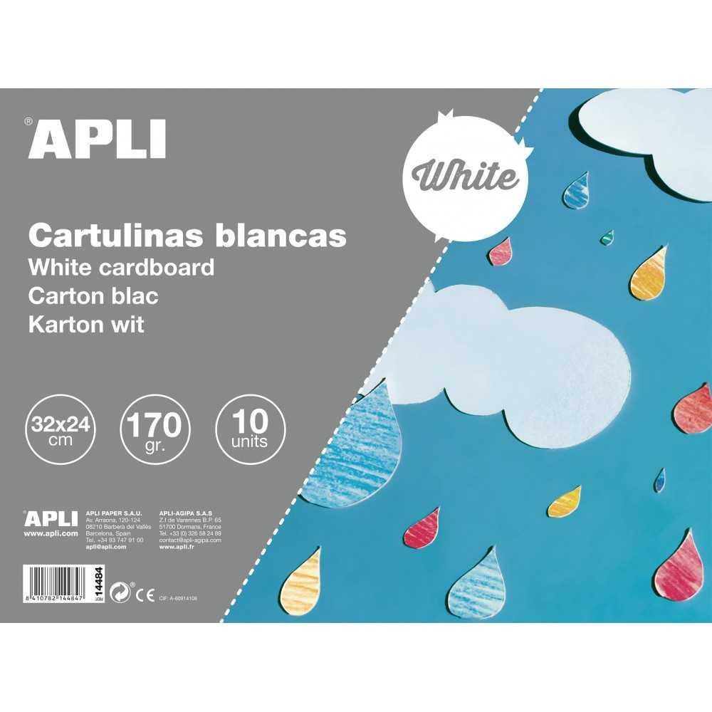 Cuaderno 10 Hojas Cartulina 32x24cm, 170gr Color Blanco Apli 14484