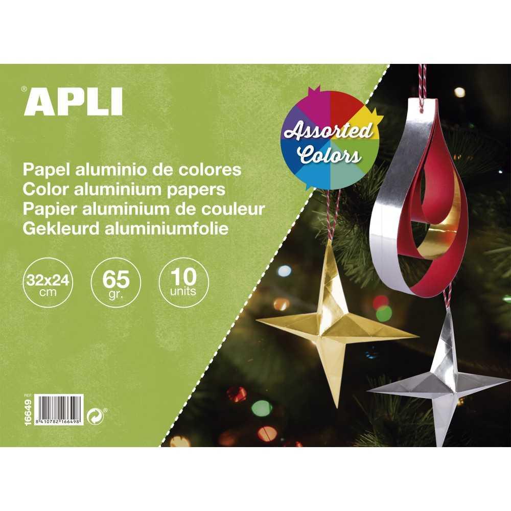 Bloc de 10 Hojas Papel Aluminio Colores Surtidos 32x24cm Apli 16649