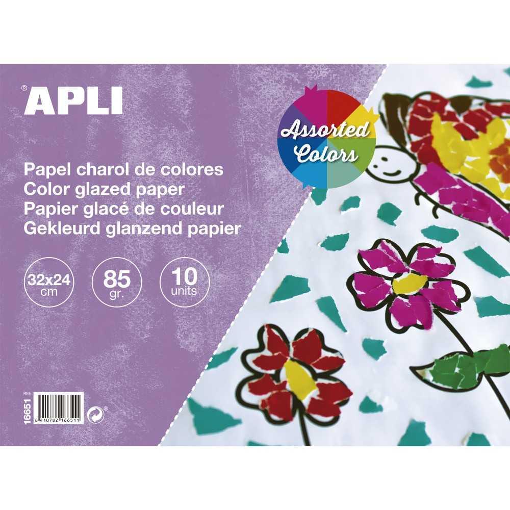 Bloc de 10 Hojas Papel Charol Colores Surtidos 32x24cm Apli 16651