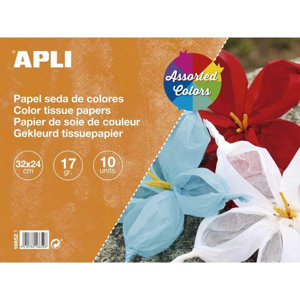 Bloc de 10 Hojas Papel de Seda Colores Surtidos 32x24cm Apli 16650