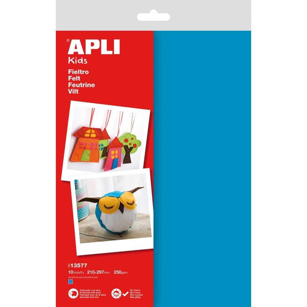 10 Hojas Fieltro A4 de Color Azul Apli 13577