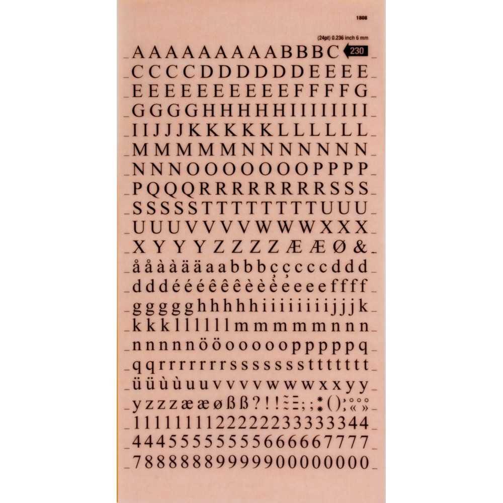Letras y Números Transferibles Color Negro 6 mm Apli SDD230F