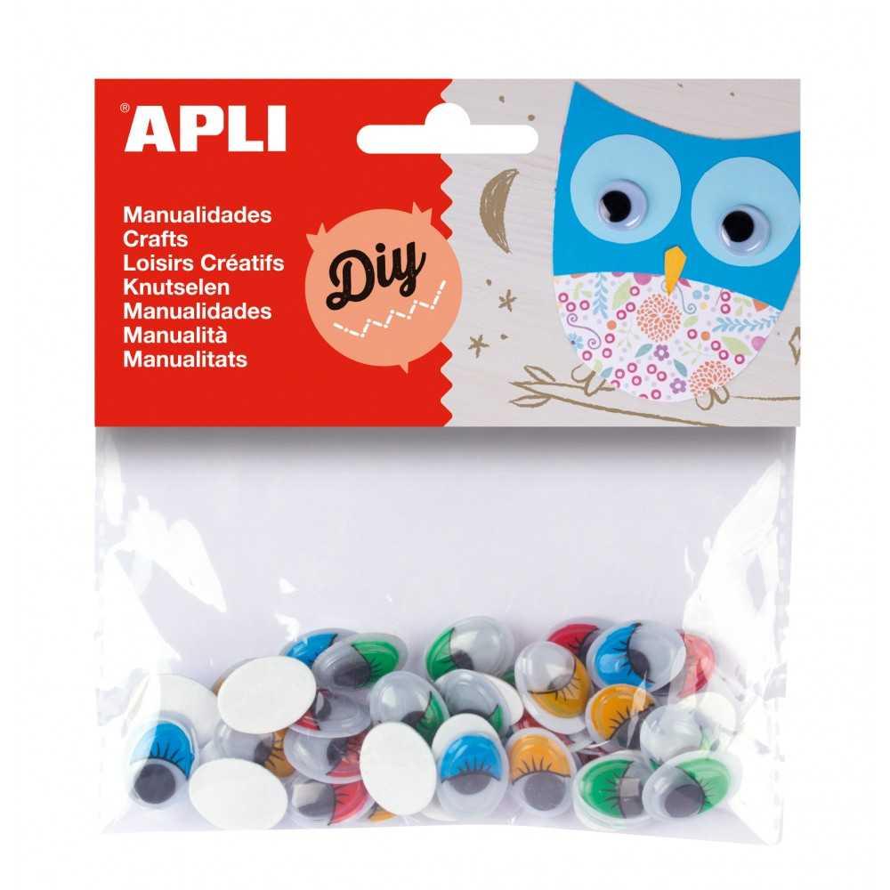 40 Ojos Móviles Con Pestañas Adhesivos de Colores 16x 12 mm Apli 13059
