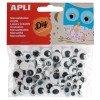 100 Ojos Móviles Adhesivos Redondos Color Negro Apli 13263 Compraetiquetas