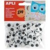 100 Ojos Móviles Adhesivos Con Pestañas Color Negro Apli 13264 COMPRAETIQUETAS