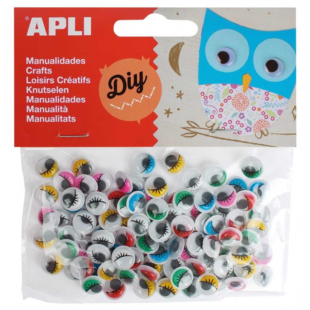 100 Ojos Redondos de Colores Adhesivos Apli 13265 Compraetiquetas
