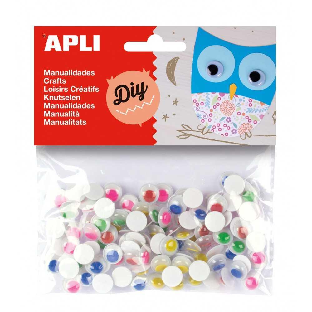 100 Ojos Móviles Pupilas de Color Redondos Apli 13266