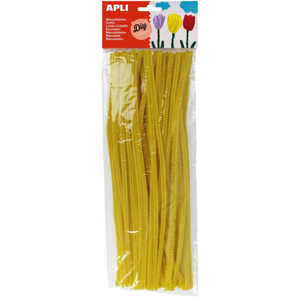 Bolsa 50 Alambres Limpiapipas Color Amarillo Apli 13272