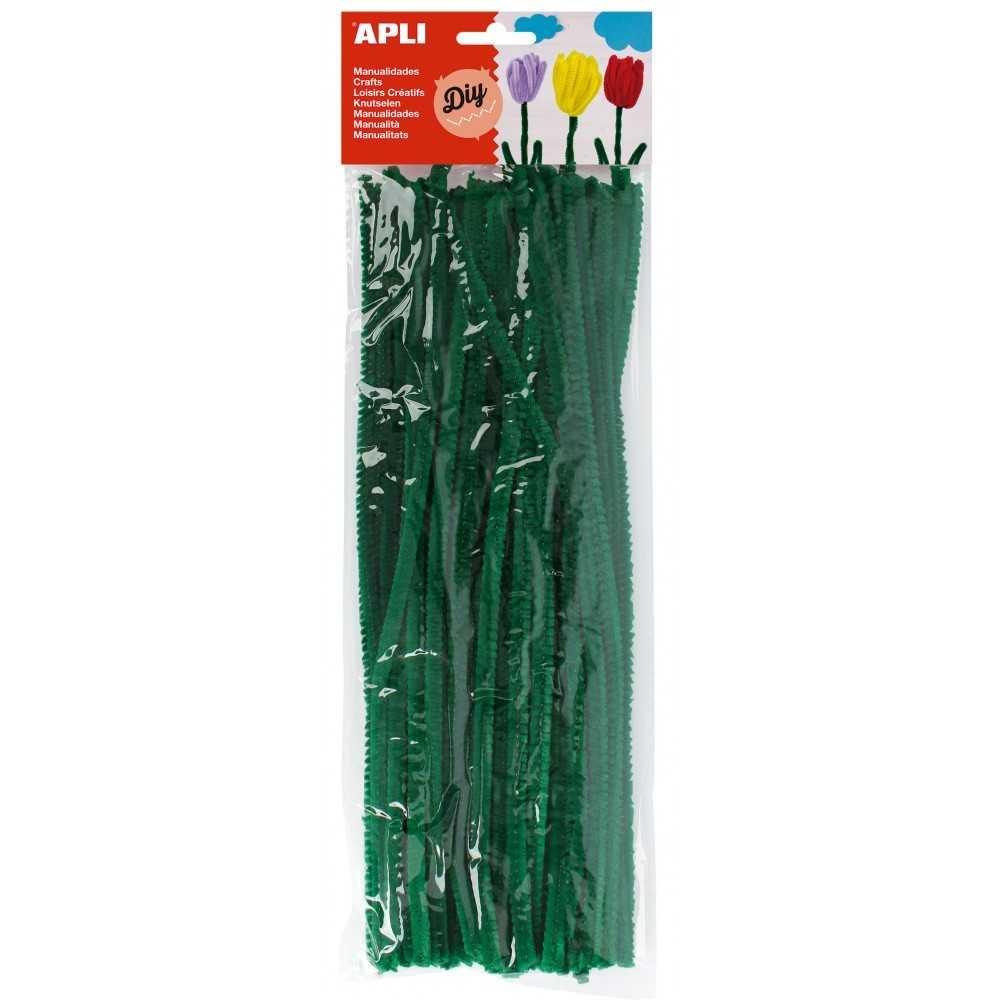 Bolsa 50 Alambres Limpiapipas Color Verde Apli 13275