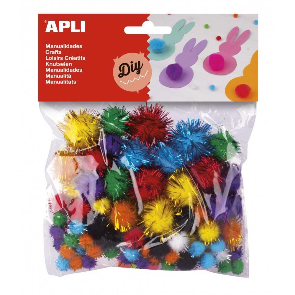 Bolsa de Pom Poms de Colores Brillantes Surtido Apli 13062