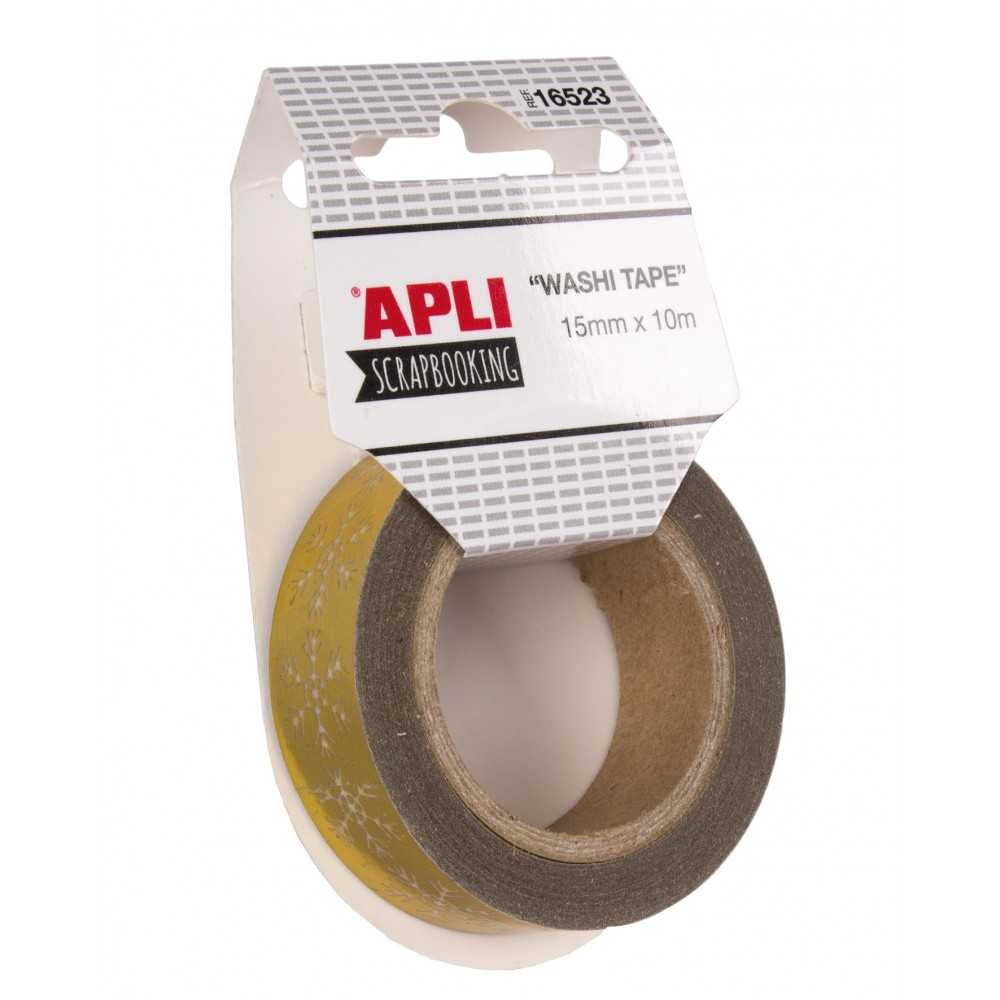 Cinta De Papel Washi Tape 15mmx10m Oro Copos Nieve 16523