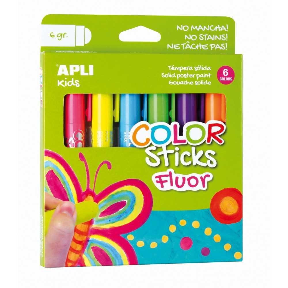 6 Barras de Tempera Sólida Colores Fluorescentes Apli 14404