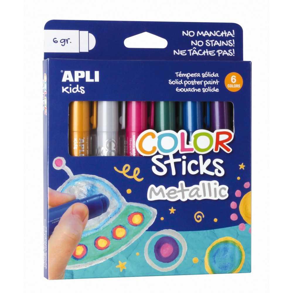 6 Barras de Tempera Sólida Colores Metálicos Apli 14405 compraetiquetas.com