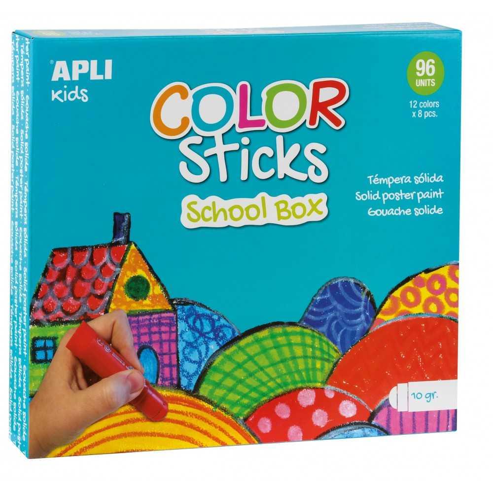 Pack Escolar 96 Temperas Sólida Colores Surtidos Apli 14850 compraetiquetas.com