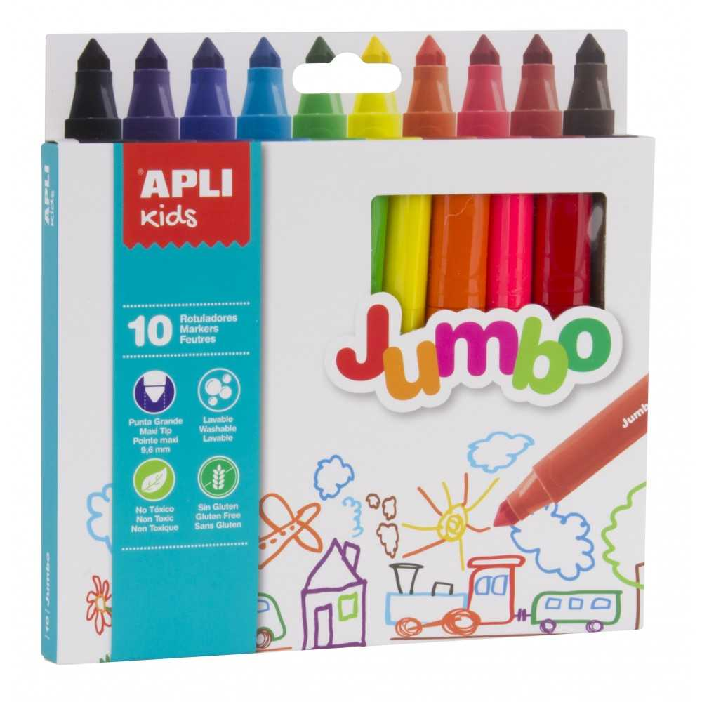 Caja 10 Rotuladores de Colores Jumbo Apli 16804