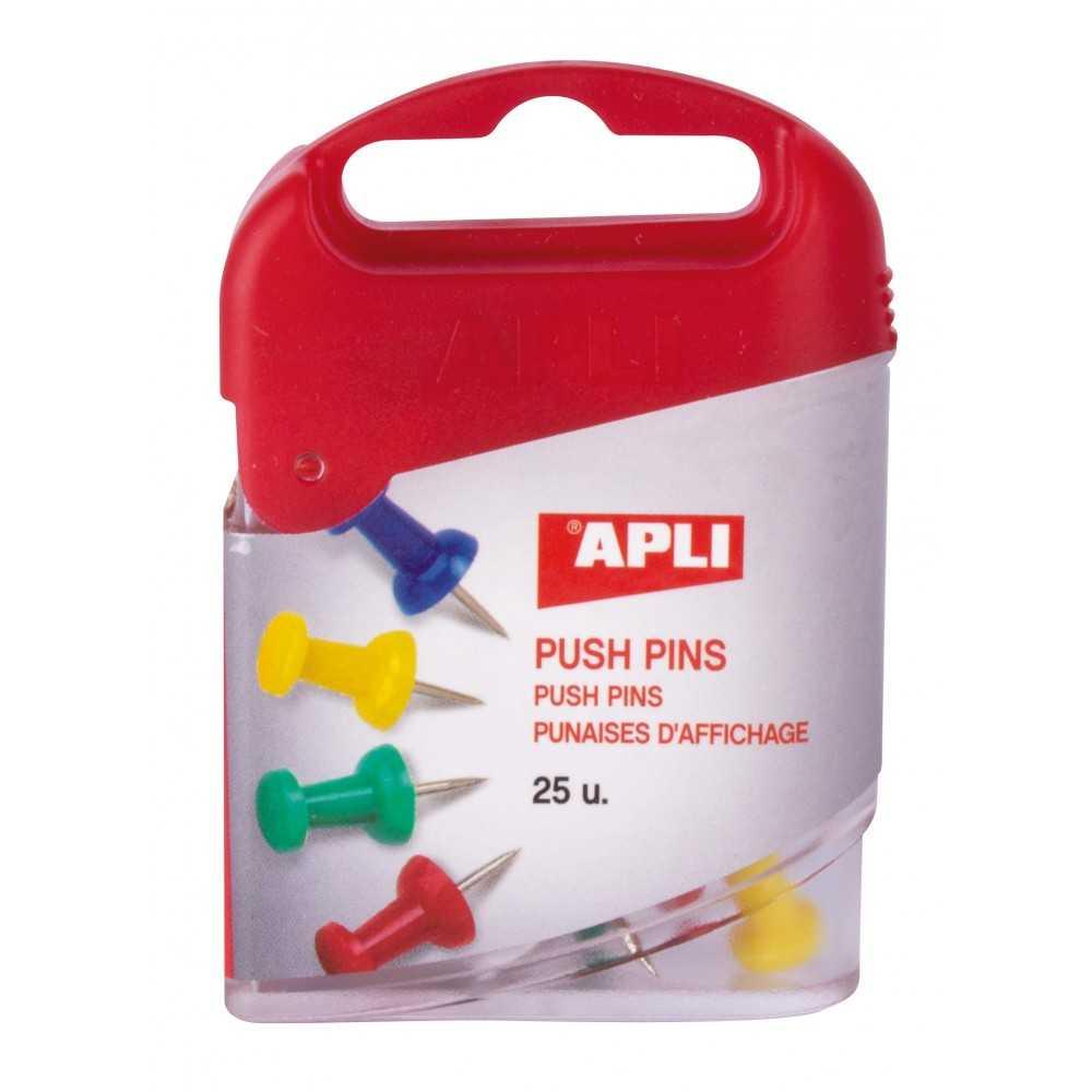 Caja De 25 Agujas Push Pins Surtido Color Apli 12349