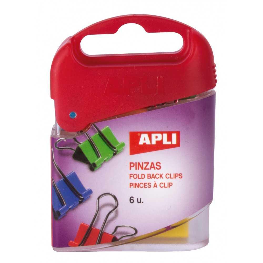6 Pinzas Pala Abatibles Colores Surtidos 19 mm Apli 12675