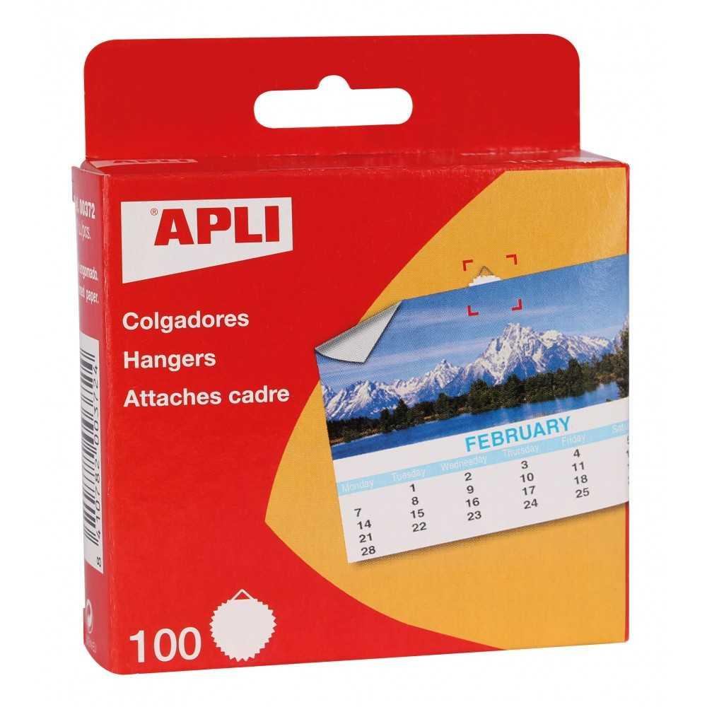 Caja 100 Colgadores de Papel Engomado Apli 00372