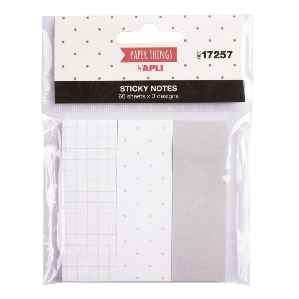 3 Notas Adhesivas Tonos Gris Paper Things 25x75mm Apli 17257