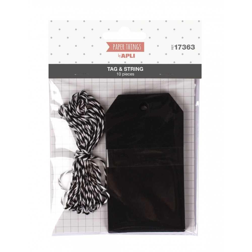 10 Etiquetas Colgantes Cartulina Negra Con Cuerda Bicolor Negra Blanca Apli 17363
