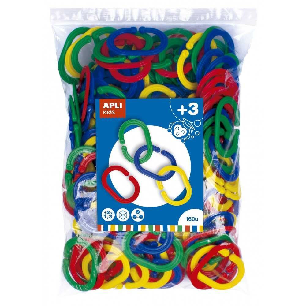 Bolsa 160 Anillas Plástico de Colores Engarzables  Apli 17486