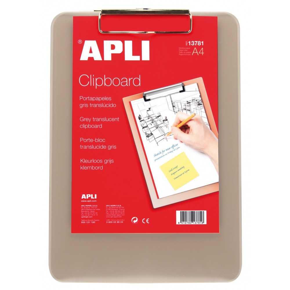 Porta-papeles Con Pinza A4 Gris Translúcido Apli 13781