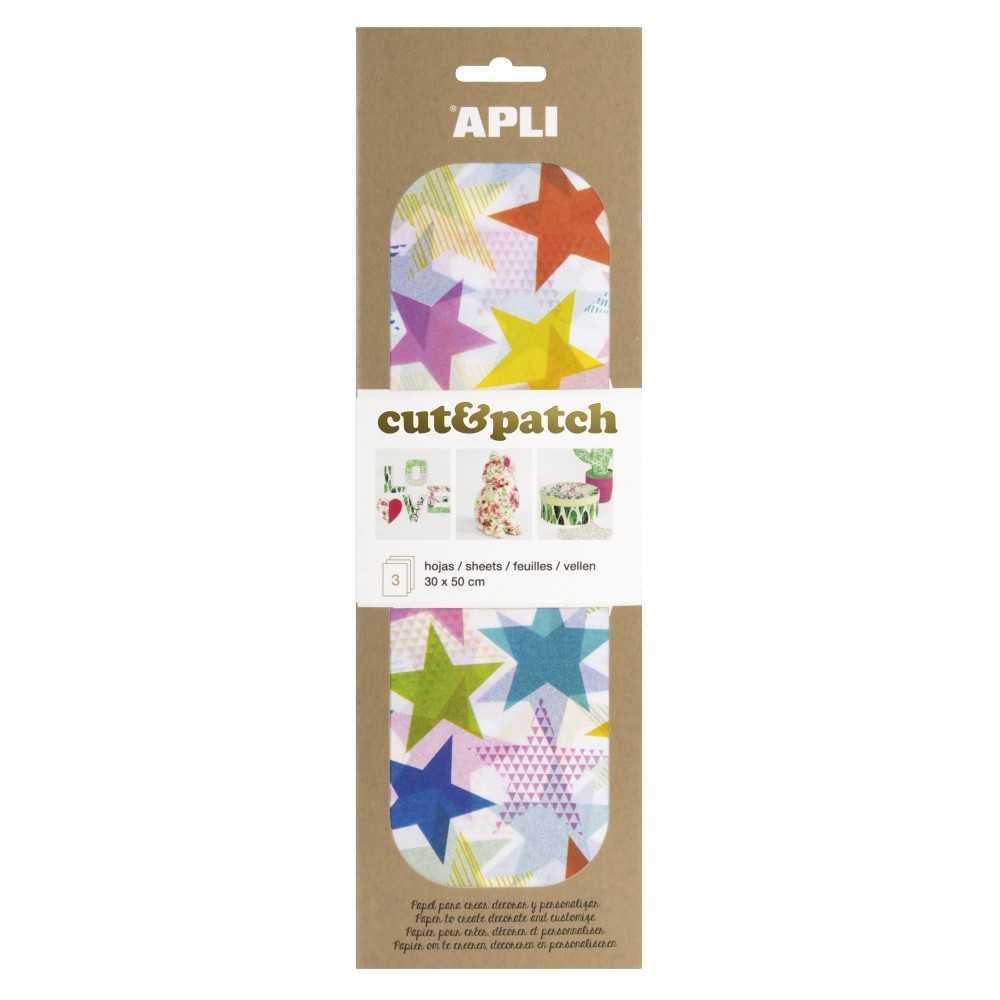 3 Hojas 30x50cm Papel Decopatch Modelo Estrellas Colores Apli 17220