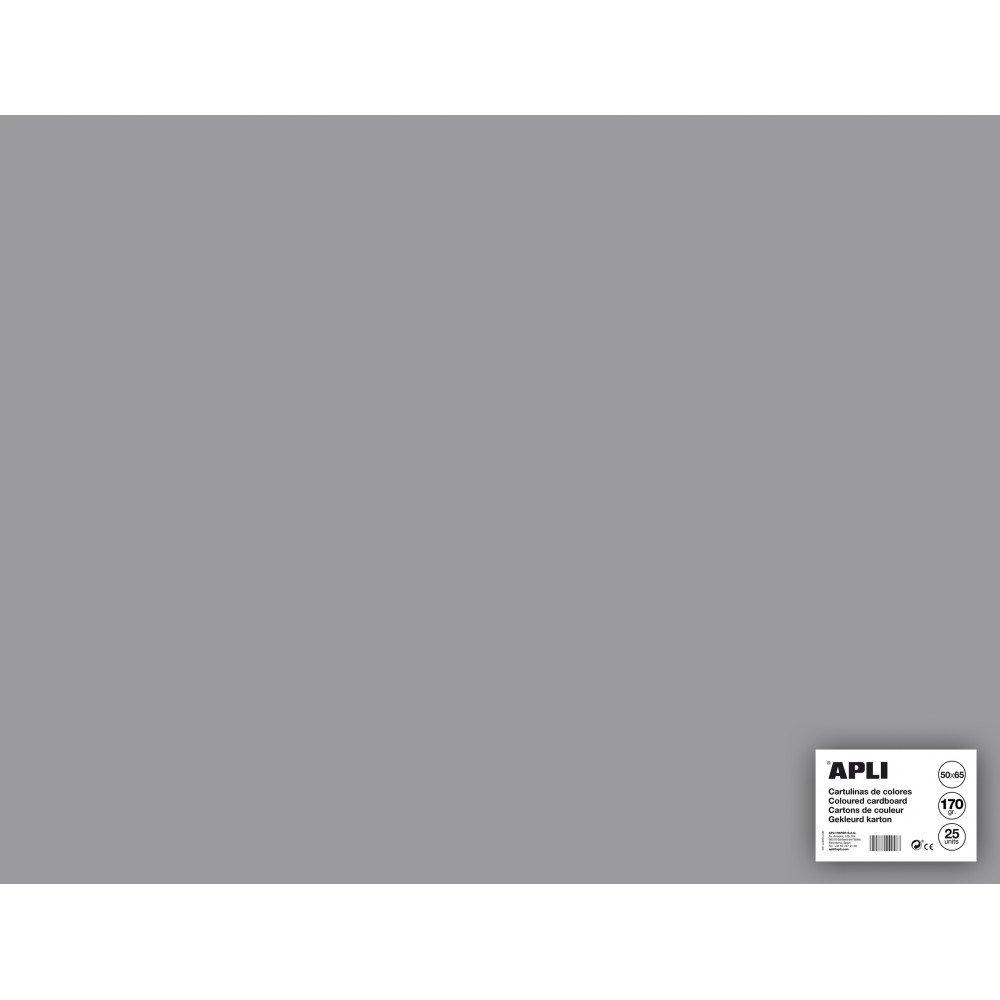 25 Hojas Cartulina 50x65cm Color Gris Apli 14268