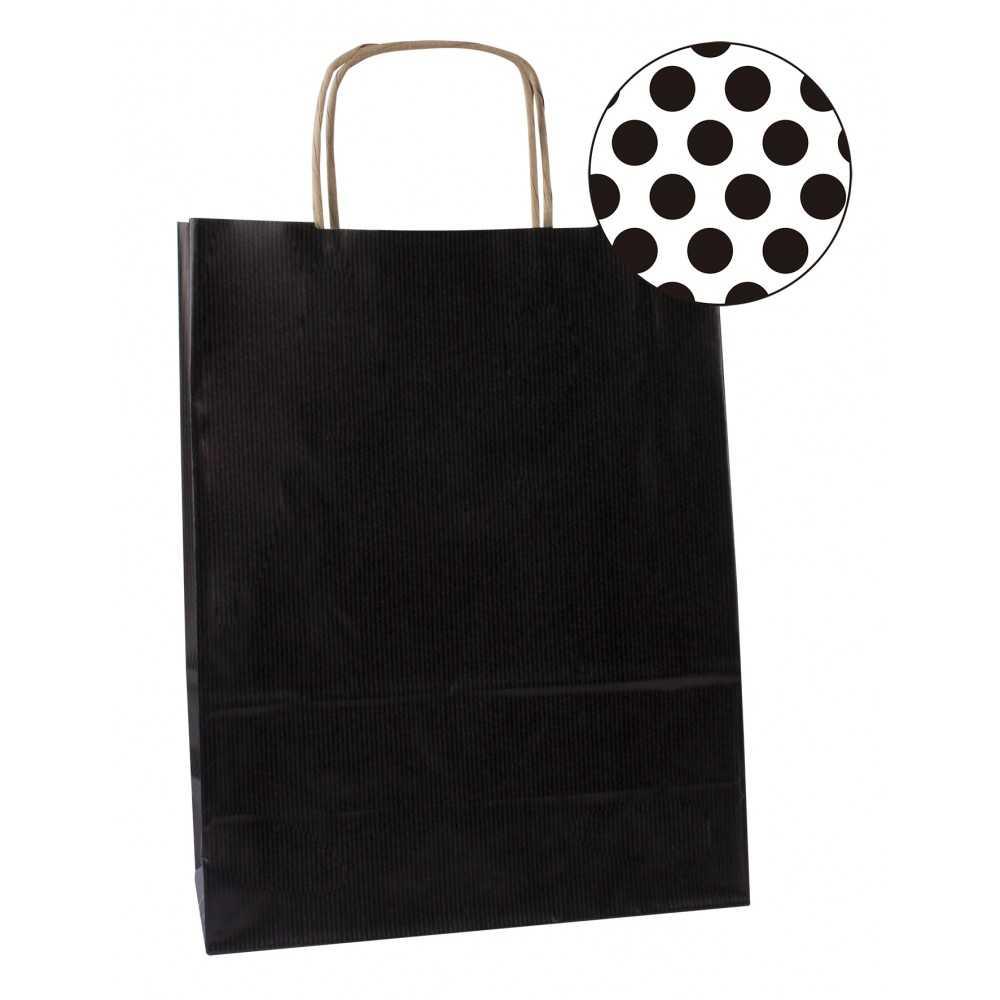 50 Bolsas Kraft Color Negro Con Asas 32x16x39 cm Apli 101841 COMPRAETIQUETAS