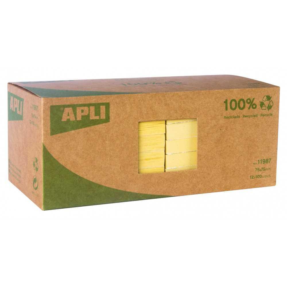 12 Blocs 100 Hojas Notas Adhesivas Amarillas Papel Reciclado Apli 11987 compraetiquetas.com