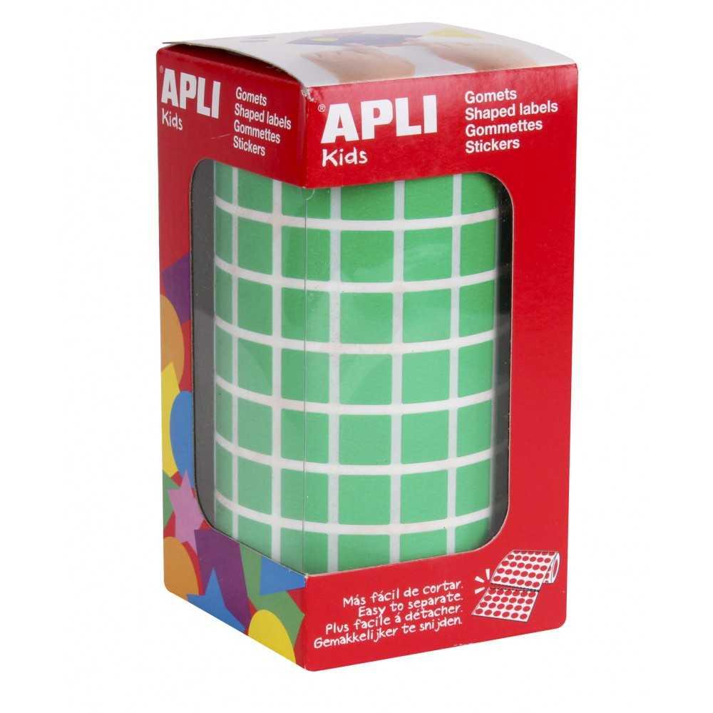 Rollo Gomets Cuadrado Color Verde 10mm Apli 04874 compraetiquetas.com
