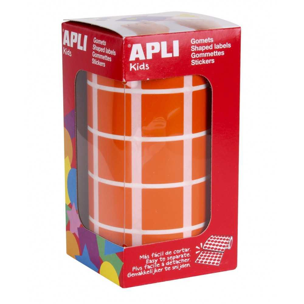 Rollo de Gomets Cuadrado Color Naranja 20mm Apli 11498 compraetiquetas.com