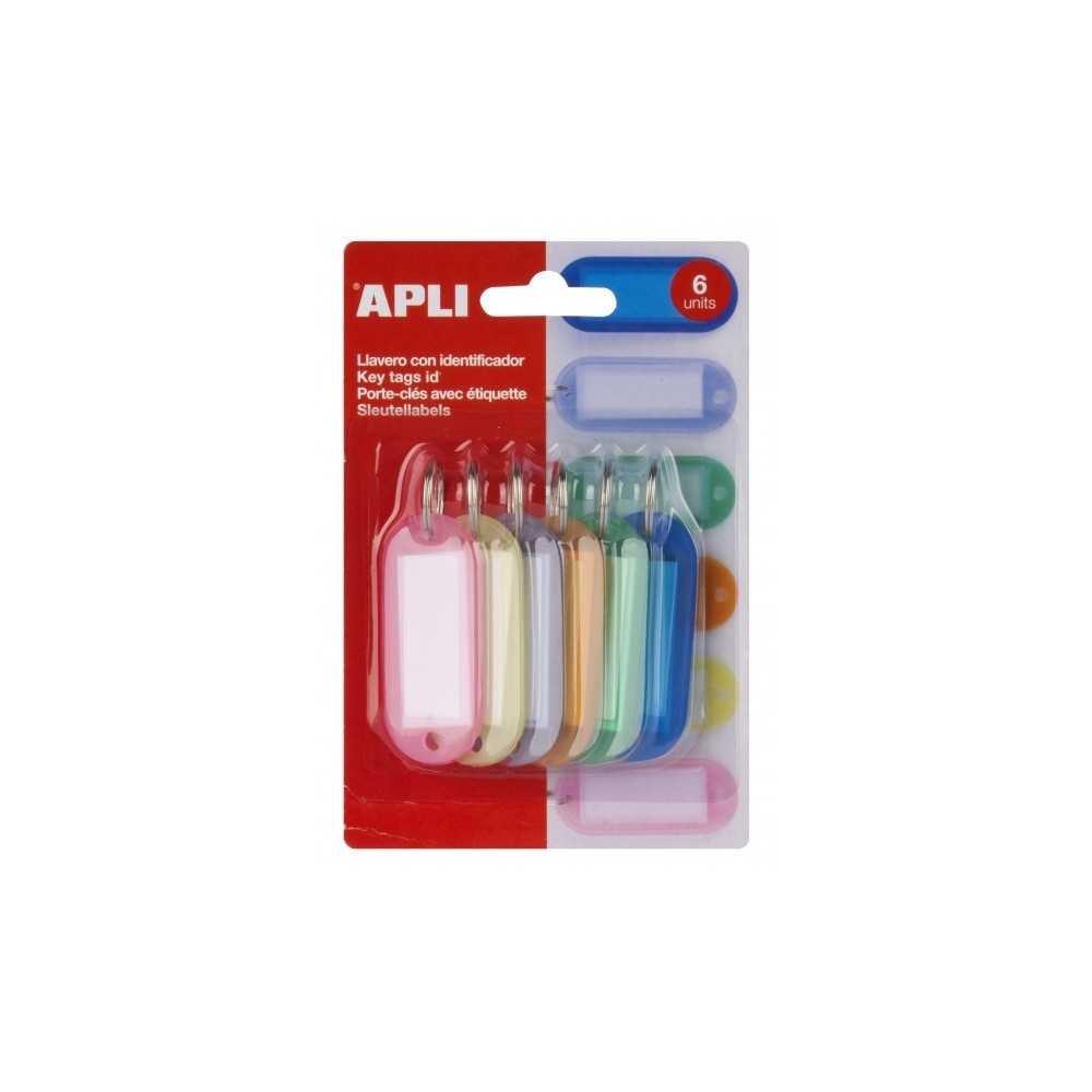 6 Llaveros Porta Eiquetas Plastico Traslucido Surtido Color Apli 17133 compraetiquetas.com