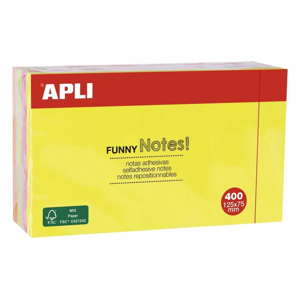 Taco de Notas Adhesivas Flúor 125x75 mm 400 H Apli 13438