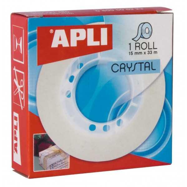 Cinta Adhesiva Transparente Crrystal en Cajita 15mm x 33m Apli 11035 compraetiquetas.com