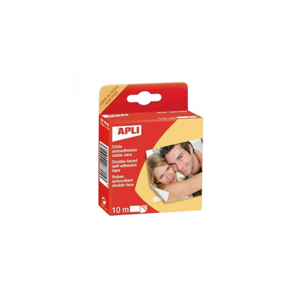 Cinta Adhesiva de Doble Cara Fácil Extracción 12 mmx 10m Apli 00100 compraetiquetas.com