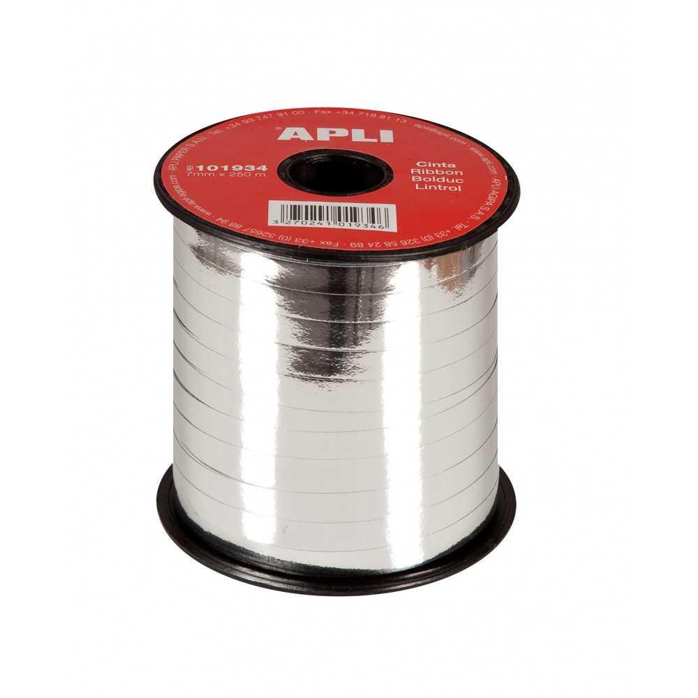 Cinta de Regalo Color Plata Metalizada 7mm x 250m Apli 101934 compraetiquetas.com