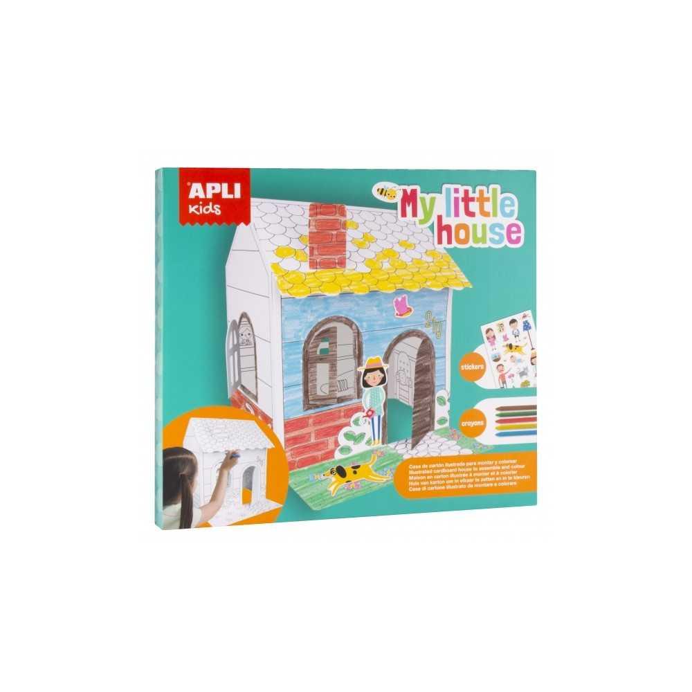 Juego Colorear Casa Automontable De Cartón  Apli 16716 compraetiquetas.com