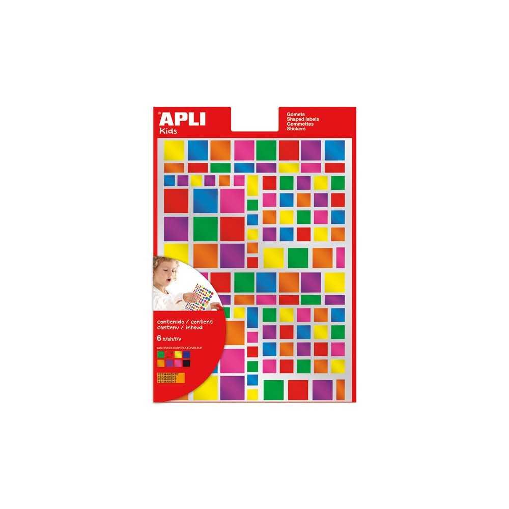 6h Gomets Multicolor Cuadrados Metalizados Apli 13530 compraetiquetas.com