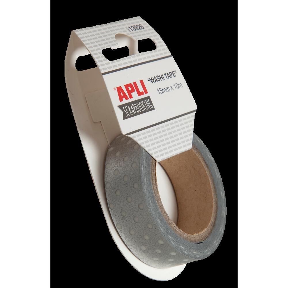 Cinta adhesiva Papel Washi Tape 15mmx10m Plata Apli 13926 compraetiquetas.com