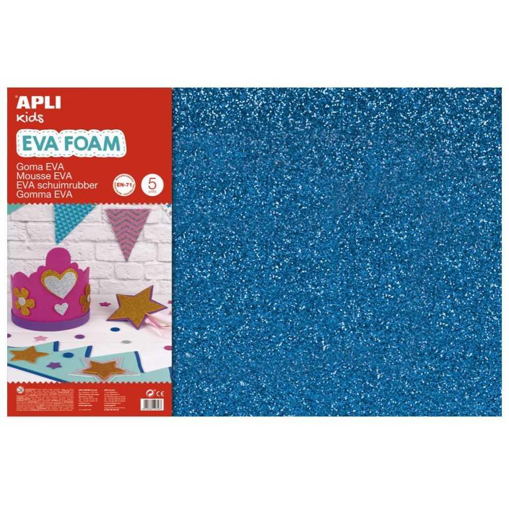 3 Hojas Goma Eva Purpurina Color Azul 60x40 cm Apli 13435 compraetiquetas.com