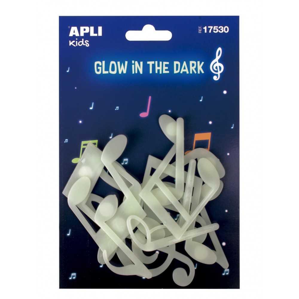 12 Notas Musicales de Plástico Solido Luminiscentes Apli 17530 compraetiquetas.com